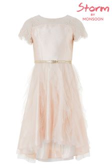 Monsoon Nude Quinn Ruffle Dress