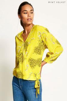 Mint Velvet Yellow Natasha Print Wrap Blouse