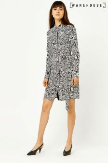 Warehouse Black/White Zebra Print Shirt Dress