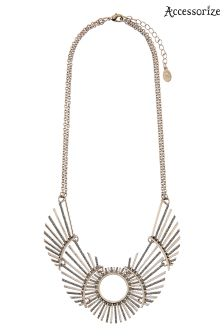 Accessorize Gold Pheonix Sparkle Collar Necklace