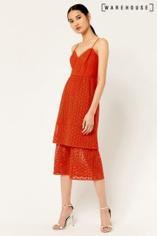 Warehouse Red Tiered Broderie Midi Dress