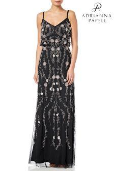 Adrianna Papell Black Floral Blouson Dress