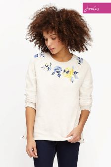 Joules Cream Rose Embriodery Hayfield Sweatshirt