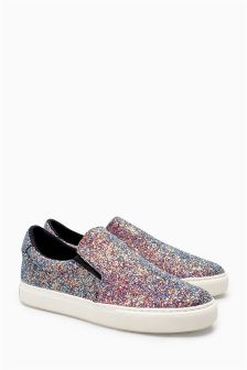Glitter Slip-On Skater Shoes