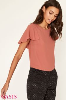 Oasis Natural Secret Garden Midi Frill Sleeve Lace Top