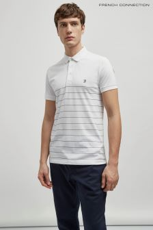 French Connection White/Marine Summer Engineered Stripe Polo