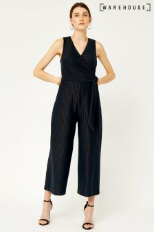 Warehouse Navy/Bronze Stripe Pinstripe Jumpsuit