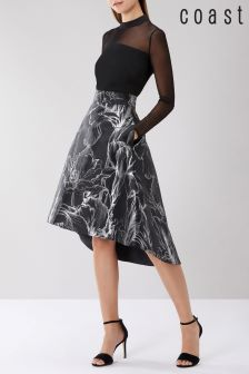 Coast Black Kiki Jacquard Skirt