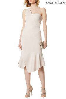 Karen Milen Natural One Shoulder Drape Dress