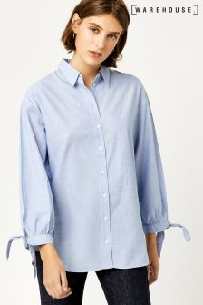 Warehouse Blue Chambray Tie Cuff Shirt