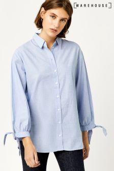 Warehouse Blue Chambray Tie Cuff Shirt