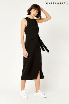Warehouse Black Tie Side Sleeveless Dress