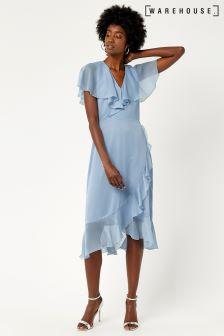 Warehouse Light Blue Soft Ruffle Midi Dress