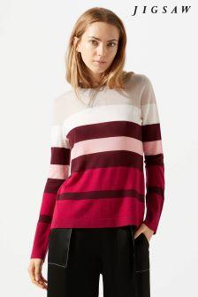 Jigsaw Pink Bold Stripe Jumper