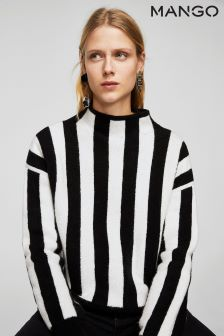 Mango Black/White Striped Jumper