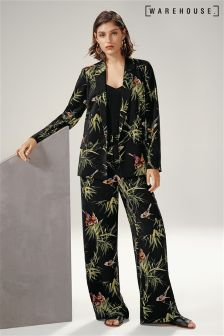 Warehouse Black Barbara Printed Trouser