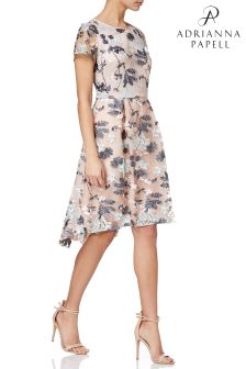 Adrianna Papell Pink Abigail Embroidered Mesh High Low Dress
