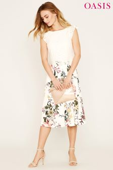 Oasis Natural Frill Sleeve Lace Top Secret Garden Midi Dress