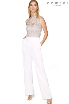 Damsel Metallic Eira Animal Lace Bodice Jumpsuit