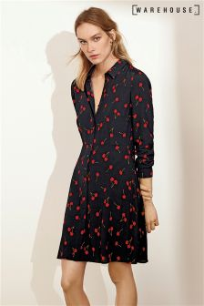 Warehouse Black Cherry Print Shirt Dress