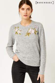 Warehouse Grey Molly Cosy Embroidery Jumper