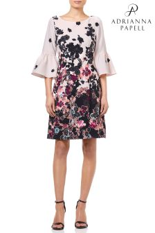 Adrianna Papell Black Floral Bliss Printed A-Line Dress