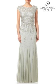 Adrianna Papell Mint Cap Sleeve Embellished Evening Dress