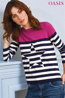 Oasis Blue Breton Stripe Star Knit