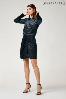 Warehouse Navy Tuck Glitter Velvet Dress