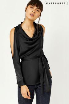 Warehouse Black Satin Cowl Neck Top