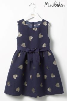 Boden Blue Heart Jacquard Dress