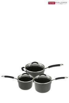 Set of 3 Prestige Dura Forge Professional Saucepans