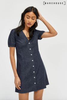 Warehouse Mid Wash Denim V-Neck Summer Dress