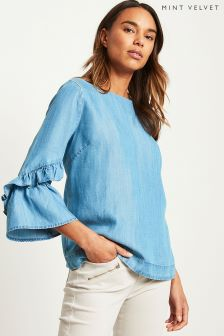 Mint Velvet Blue Fluted Sleeve Chambray Blouse
