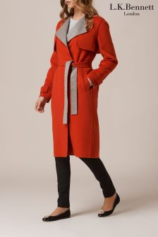L.K.Bennett Clemence Red Wool Cashmere Coat