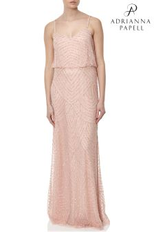 Adrianna Papell Pink Long Blouson Dress