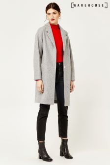 Warehouse Grey Bonded Knit Chuck On Coat