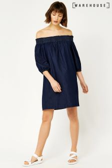 Warehouse Mid Wash Ruched Bandeau Dress
