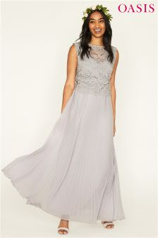 Oasis Grey Gracie Lace Top Pleated Maxi Dress