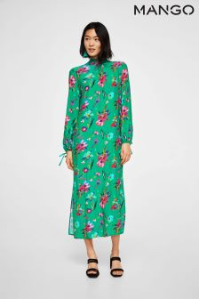 Mango Green Floral Printed Midi Dress