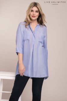 Live Unlimited Blue Pocket Chambray Blouse