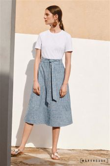 Warehouse Grey Stripe Button Stripe Linen Blend Skirt