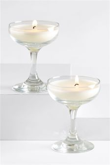 Set of 2 Glass Shaped Fizz Fragranced Candles