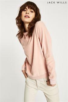 Jack Wills Pink Fromshaw Velour Sweatshirt