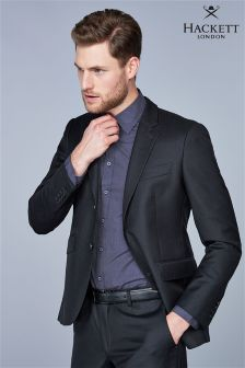Hackett Black Plain Wool Twill Jacket