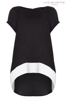 Live Unlimited Black Contrast Side Hem Top