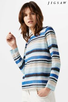 Jigsaw Blue Linen Multi Stripe Top