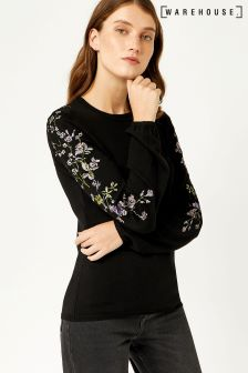 Warehouse Black Violet Embroidered Sleeve Jumper