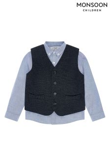 Monsoon Grey Ruben Waistcoat And Shirt Set