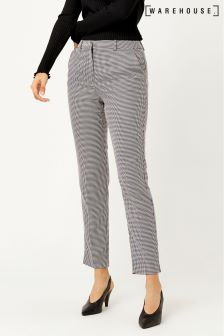 Warehouse Grey Houndstooth Slim Leg Trouser